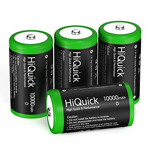 HiQuick Mono D Akku 10000mAh - 1,2V wiederaufladbare Batterien D Typ NiMH 4 Stück