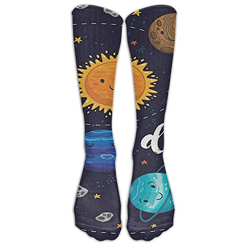 Cute Outer Space Planets And Star Cluster Solar System Moon And Comets Sun Universe Unisex Sport Soccer Mesh Tube Socks Over Knee High Long Socks Baseball (Halloween Comet Size)