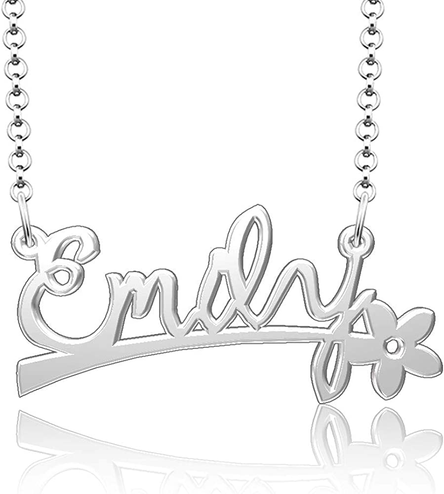 Infinite Memories 925 Sterling Silver Emily Name Necklace Personalized Name Plate Customize Flower Pendant