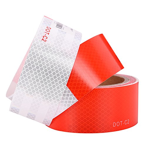 TopGreen Red White Honeycomb Reflective Tape 2-Inches by 30-Feet Waterproof Self-adhesive Trailer Reflector Tape-reflective tape for trucks, trailers, car, Warning Caution Conspicuity Tape