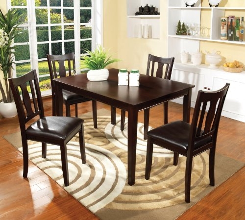 Furniture of America Marion 5-Piece Solid Wood Dining Set, Walnut