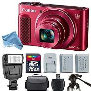 Canon PowerShot SX620 HS Digital Camera (Red) + Flash + Backup Battery + 16GB Class 10 Memory Card + Tripod + Digital Camera Case + Card Reader + DigitalAndMore EXTREME Cleaning Kit