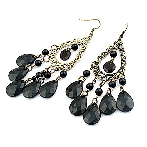 Asian Charm Earrings - LOCOMO Indian Thai Asian Antique Stone Bling Crystal Dangle Chandelier Earring JER020