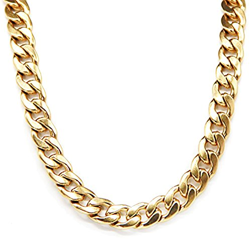 CrazyPiercing Stainless Steel Faux Gold Curb Punk Link Chain Necklace 19 Inch 10mm (Chunky Link Chain)