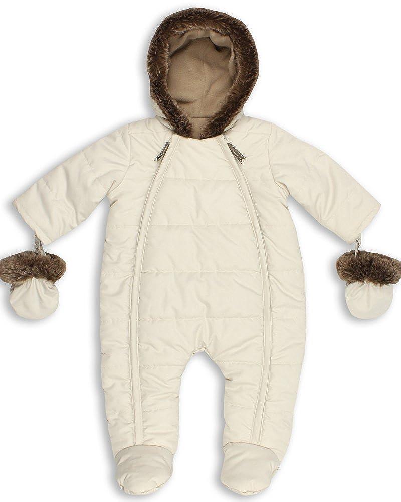 The Essential One - Baby Unisex Quilted Fur Trim Pramsuit/Snowsuit - Cream - EO138