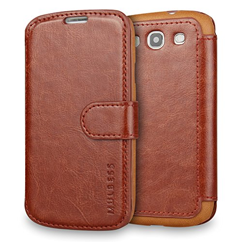 Galaxy S3 Case Wallet,Mulbess [Layered Dandy][Vintage Series][Coffee Brown] - [Ultra Slim][Wallet Case] - Leather Flip Cover with Credit Card Slot for Samsung Galaxy S3 III i9300 (Galaxy S3 Cases Wallet)