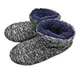 Q-Plus Mens Cable Knit Woolen Slipper Boot Memory Foam Fluffy Cotton Quilted Ankle Booties Indoor House Shoes