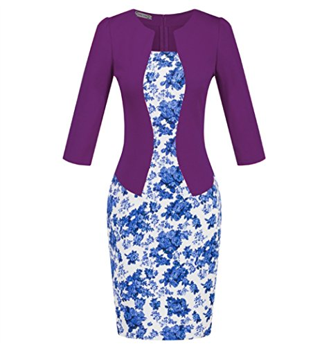 Weekendy OL Style Cropped Sleeve Dress Robe de Jupe Crayon  Carreaux Ceinture Robe Slim Purple