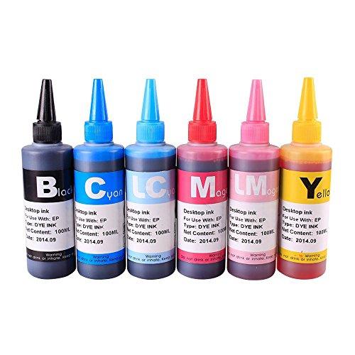 02 Black Ink Cartridge Refill - INKUTEN TM Ink refill set for CIS/CISS or refillable cartridges using HP 02 ink (6-Pack)