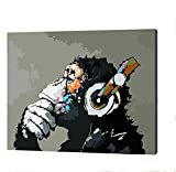 [Wooden Frame] DIY Oil Painting Paint by Number Kit- Music and Monkey 1620 inch