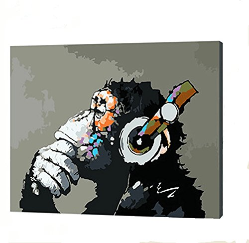 YXQSED [Wooden Frame] DIY Oil Painting Paint by Number Kit- Music and Monkey 16X20 inch ()