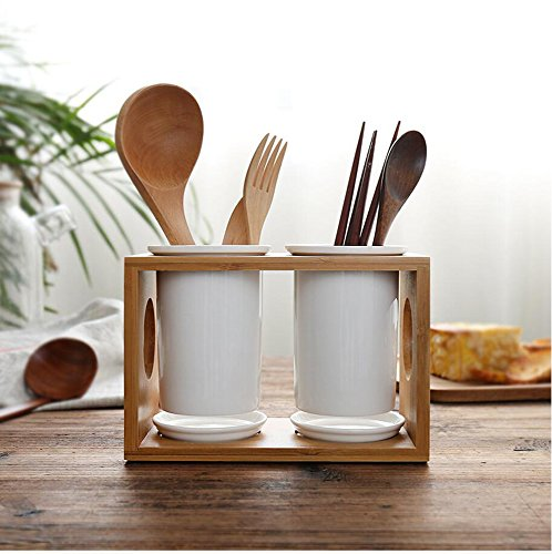 Utensil holder Utensil organizer Ceramic holders with bamboo rack (3 in 1) by PlusGift