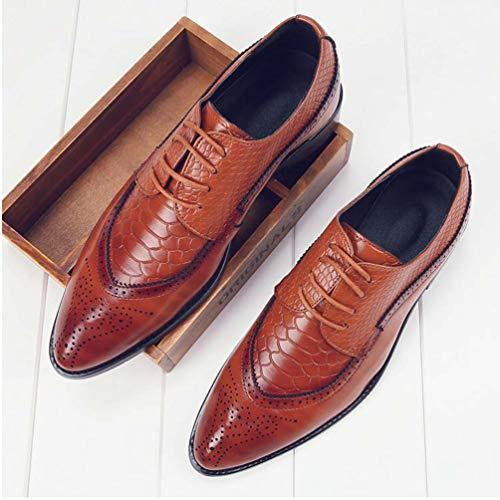 Cuero Zapatos Naranja Puntiagudo Zapatos hasta Zapatos De Los PU Moda Vestido Masculinos Encaje Oxfords Hombres nCIHAqY