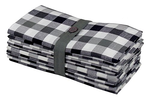 Cotton Craft 12 Pack Gingham Checks Oversized Dinner Napkins - Black Grey - Size 20