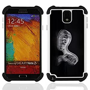 GIFT CHOICE / Defensor Cubierta de protección completa Flexible TPU Silicona + Duro PC Estuche protector Cáscara Funda Caso / Combo Case for Samsung Galaxy Note 3 III N9000 N9002 N9005 // Abstract Mechanics //