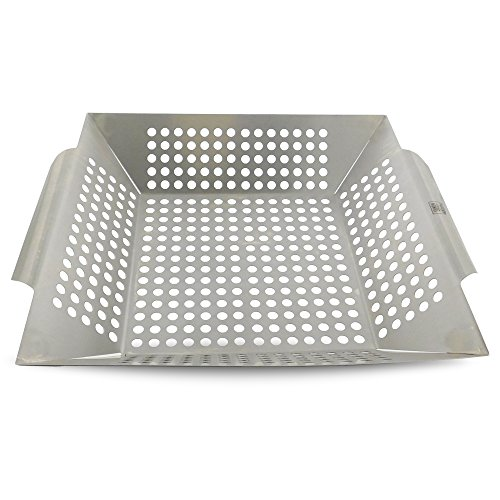 Outdoor Baskets Cooking Accessories Bbq (Yukon Glory GM-718 Professional Grill Basket for Grilling Veggies Fish & More Premium Stainless steel)