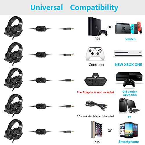 Jeecoo J20 Gaming Headset for PS4 New Xbox One, Stereo Over-ear Headphones with Mic for PC Computer Mac Laptop Nintendo Switch Games