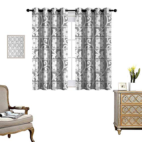 Anyangeight Silver Thermal Insulating Blackout Curtain Floral Ornaments Blooming Flowers in Squares Royal Abstract Themed Pattern Art Image Patterned Drape for Glass Door W55 x L63 White Grey Dallas Cowboys Art Glass Ornament