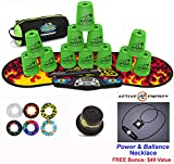 Speed Stacks Combo Set 'The Works'': 12 NEON GREEN 4'' Cups, Black Flame Gen 3 Mat, G4 Pro Timer, Cup Keeper, Stem, Gear Bag + Active Energy Necklace