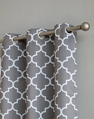 HLC.ME Moroccan Lattice Print Thermal Insulated Room Darkening Blackout Window Curtain Panels for Bedroom - Set of 2-37