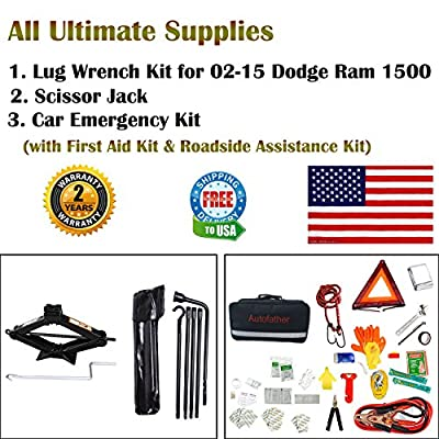 123Pcs Auto Emergency Kit with First Aid Kit and 1Pc Spare Tire Tool Kit with 2-Ton Scissor Jack & Lug Wrench Kit for 2002-2015 Dodge Ram 1500, A Real All-In One Pack.