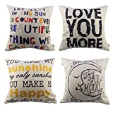 Decorative Pillow Cover - HOSL 4 Pack Cotton Linen Pillow Case Decorative Cushion Cover (NO Pillow)