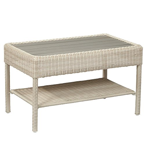 Hampton Bay Park Meadows Off-White Wicker Outdoor Coffee Table ()