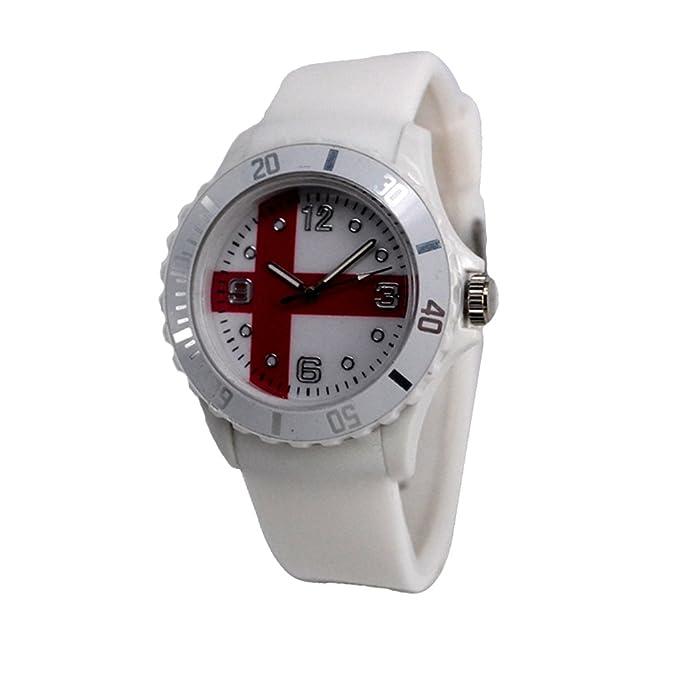 Reloj con la bandera de Inglaterra con pulsera de Silicona