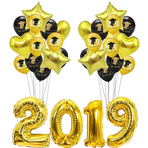 Party Nice 2019 graduation party balloon combination package,2019 Foil Mylar Number 32 inch- Graduation Party Supplies 2019 - Graduation Decorations ballons (black gold)