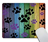 Smooffly Mousepad Rustic Rainbow Woodgrain Black and Purple Dog Paw Personality Desings Gaming Mouse Pad 9.5 X 7.9 Inch (240mmX200mmX3mm)