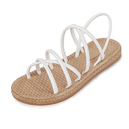 Cyber mode Plat Bohème Sandales Pour Les Femmes Strappy Plage Chausson Chaussures Blanc