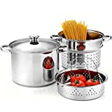 Cook N Home 02401 Stainless Steel 4-Piece Pasta Cooker Steamer Multipots with Encapsulated Bottom, 8-Quart