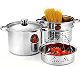 Cook N Home 02401 Stainless Steel 4-Piece 8 Quart Pasta Cooker Steamer...