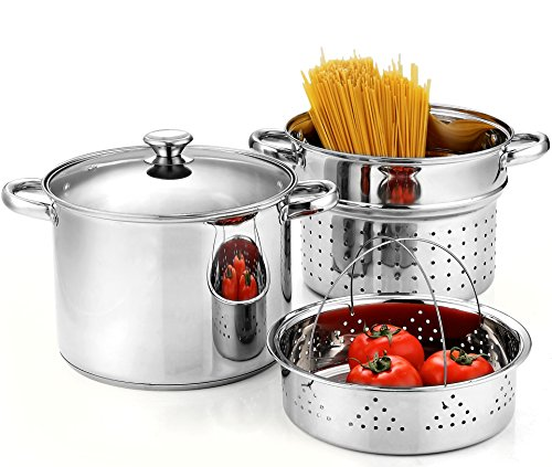Cook N Home 4-Piece 8 Quart Pasta Cooker Steamer Multipots, Stainless Steel (Steel Direct Stainless Vent)