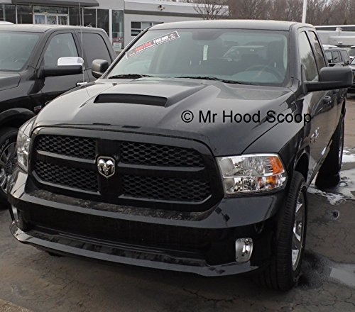 Unpainted Hood Scoop Compatible with 2002-2018 Dodge Ram 1500 by MrHoodScoop HS009