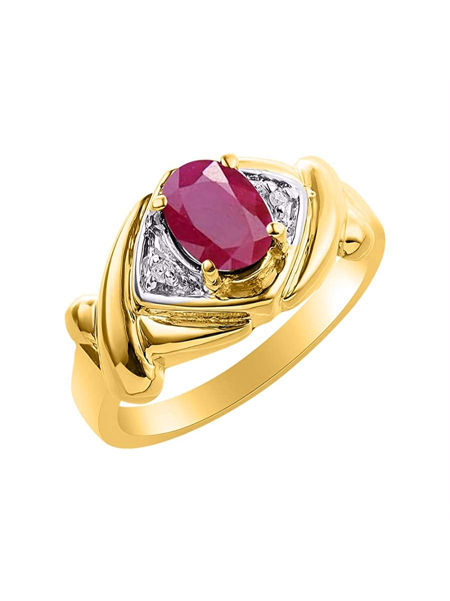 July Birthstone RYLOS Simply Elegant Beautiful Red Ruby /& Diamond Ring