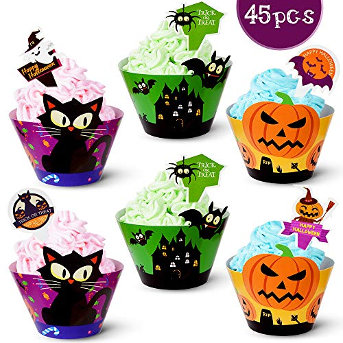 90pack Halloween Cupcake Decorations 45 Cupcake Wrapper 45 Cupcake Toppers Liner Muffin Cases Pumpkin Spider Ghost Halloween Party Supplies party favors Wedding Party Birthday Decoration CooFood