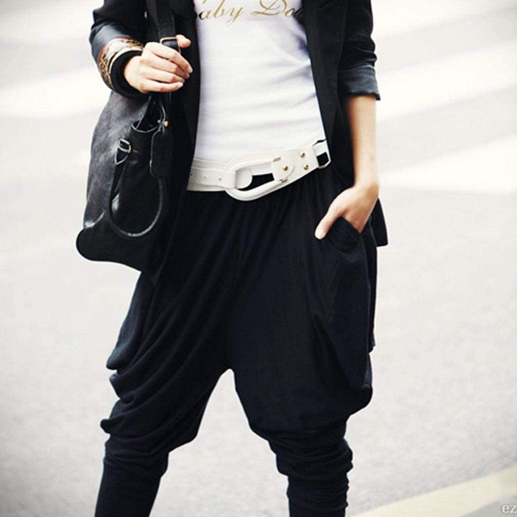 FAIYIWO Womens Stretch Street Style Baggy Hip Hop Loose Leisure Harem Pants Black FAIYIWO Black