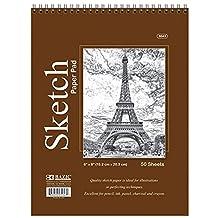 "BAZIC 50 Ct. 6"" X 8"" Top Bound Spiral Premium Sketch Pad, Case Pack of 48"