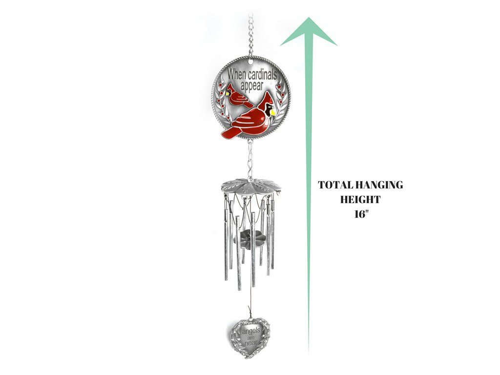 Banberry Designs Memorial WindChimes - When Cardinals Appear Angels are Near - Red Cardinal Wind Chime with a Remembrance Saying