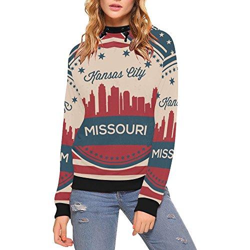 Lumos3DPrint Vintage Missouri State Kansas Skyline Women's 3D Printed Turtleneck Pullover Hooded Sweatshirt