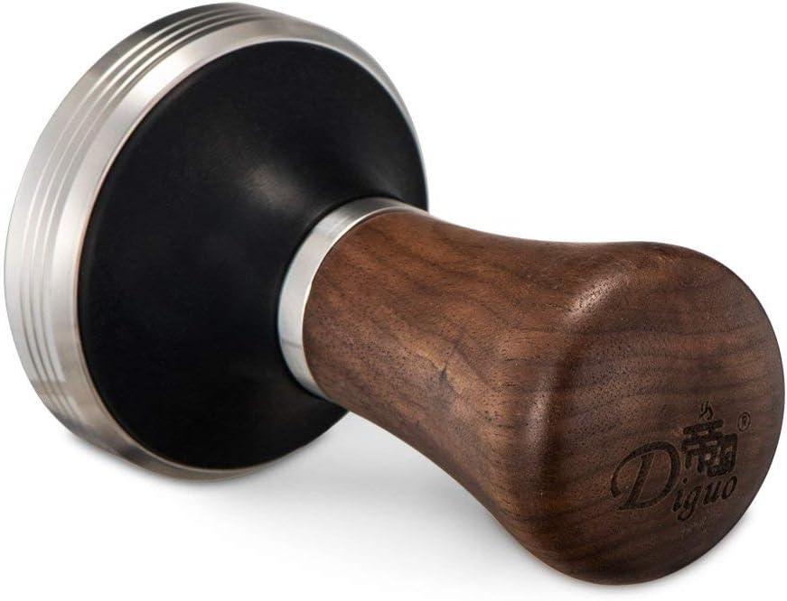 Edelstahl flach mit h/öhenverstellbarem Holzgriff Barista DG-58 Espresso Tamper Diguo Elegance Kaffeekanne aus Holz Flacher Espresso-Tamper f/ür 58 mm Siebtr/äger