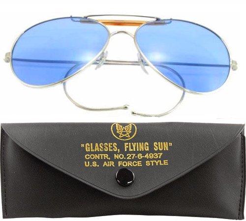 Blue Lenses US Air Force Style Aviator Sunglasses - Navy Us Sunglasses