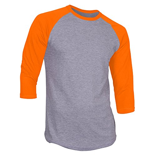DealStock Men's Plain Raglan Shirt 3/4 Sleeve Athletic Baseball Jersey S-3XL (40+ Colors),Gray Orange,XX-Large ()
