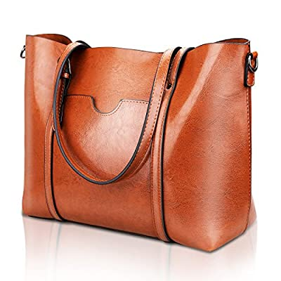 Women Top Handle Satchel Handbags Shoulder Bag Tote Purse Greased Leather Iukio