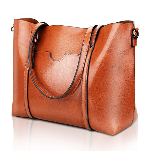Leather Purse Tote Bag Handbag (Women Top Handle Satchel Handbags Shoulder Bag Tote Purse Greased Leather Iukio)