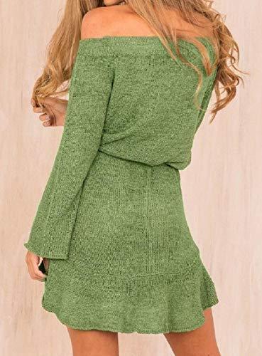 Benda Vestito Manica Senza Verdi Spalline Coolred Salone Sexy Lunga donne Maglione n1WATpx
