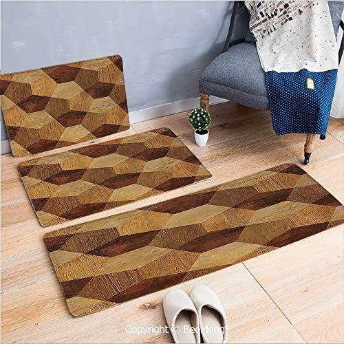 - 3 Piece Indoor Modern Anti-Skid Carpet Printed Block Bathroom Carpet,Retro,Abstract Parquet Flooring Wooden Rustic with Geometric Monochrome Pattern,Brown Light Brown,20x31/20x59/28x55 inch