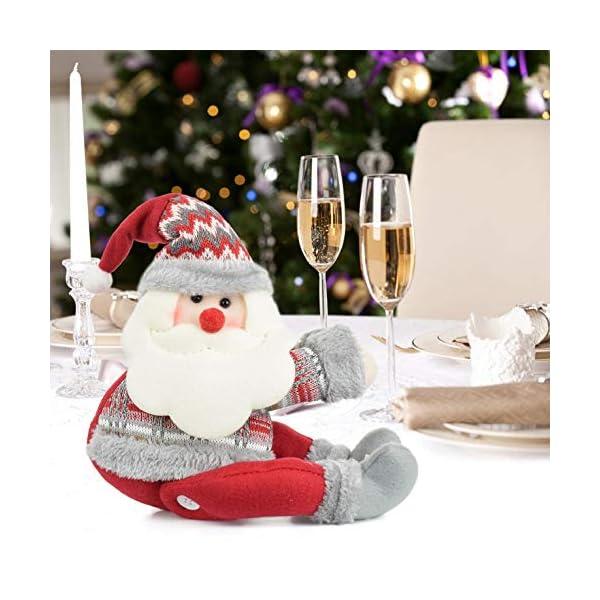 UMIPUBO Natale Sipario Fibbia in Velcro,Bambola di Natale,Fibbia Tenda Natalizia Babbo Natale Alce Pupazzo di Neve,Fissaggio Tende Fibbie,Decorazioni Natalizie, 4 spesavip