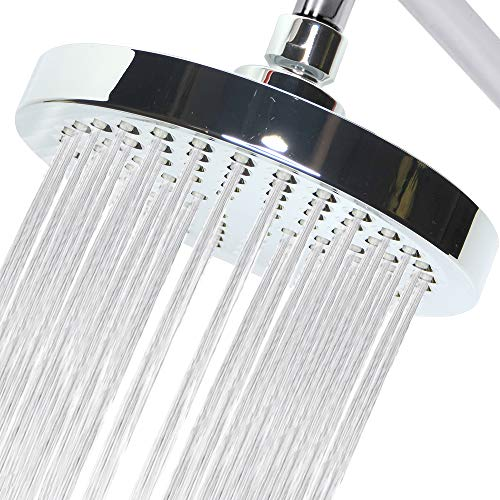 Showerhead 6'' Chrome Rainfall-By CircleSplash- 90 High Pressure Massaging Jets -2.5 gpm - Fixed To Ceiling Or Wall-Installs In Minutes -Removable Restricter And Filter-Adjustable Brass Ball ()